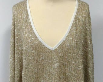 Light beige/khaki brightly colored knit poncho