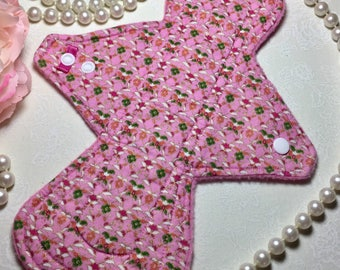 """10"""" Asymmetrical Light Cotton Top Cloth Pad/Mama Cloth/Rumps in Pink Floral Print with Pink Fleece Backing"""