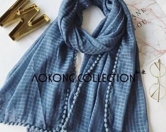Plaid cotton blend scarf with pom pom