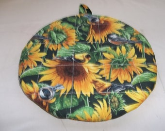Quilted Pot Holder, Oven Hot Pad, Yellow Sunflowers, Birds Robins, Canary's, Round Cotton, Fabric 9 Inches, Double Insulated, Trivet, Gift