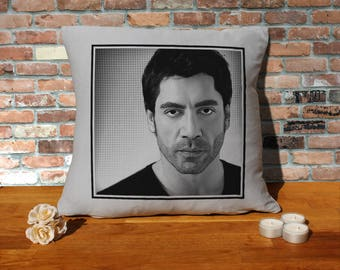 Javier Bardem Pillow Cushion - 16x16in - Grey