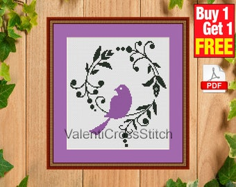 Purple BIRD Cross Stitch Pattern, Modern cross stitch,counted cross stitch pattern,Birds Pattern, cross stitch bird, #sp 53