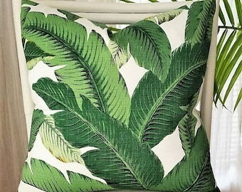 Tommy Bahama Swaying Palms Tropical Banana Leaf Island Caribbean Palm Beach Outdoor Pillow Cover