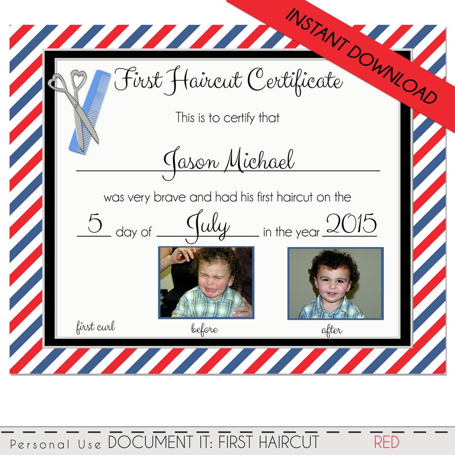 First Haircut Certificate Baby First Haircut Photo Certificate