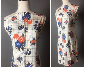 Vintage 60s dress / 1960s dress / novelty print dress / floral dress / shift dress / plaid dress / party dress / day dress / 8576