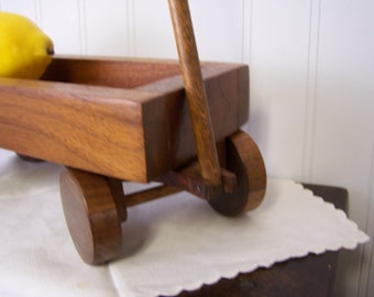 Vintage Handmade Walnut Wooden Wood Wagon 1980's RARE = PERFECT = Antique Wood