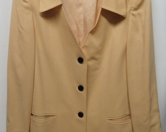 Vintage 80s Givenchy En Plus Soft Butter Yellow 100% Wool Lightweight Jacket 14W 44W