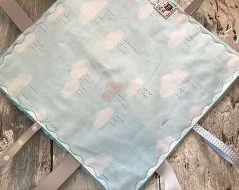 Baby Little toy blanket, clouds, blue minky