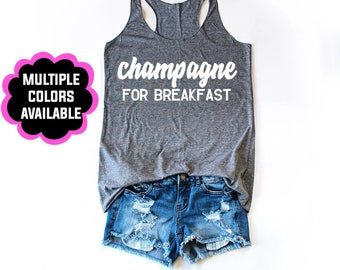 Champagne For Breakfast Women's Tanktop, Brunch Tanktop, Sunday Funday Tanktop