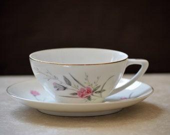 Rose Cup and Saucer Set/Golden Rose/Tea Cup Set/Floral Tea Cup Set/Pink Cup and Saucer/China Cup and Saucer/Cup and Saucer Set/50s
