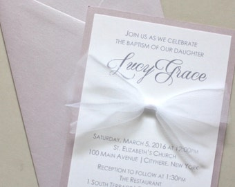 big bow christening invitation - lavender and tulle - use for birthdays too!