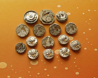 10 pcs Assorted Watch Movements, Small Watch Movements, Steampunk Supplies, Watch Movements for Parts, Antique Watch Parts