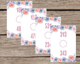 Printable Facebook Live Sale Number Tags Mirrored Image Marketing Kit, Flower Design, INSTANT DOWNLOAD LLR002