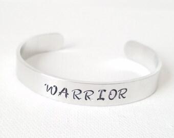 Custom Hand Stamped Jewelry Cuff Inspirational Quote Warrior Mantra  Crossed arrows spiritual motivation Breast Cancer Survivor
