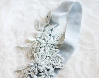 DAPHNE | 'toss' blue lace wedding garter, something blue garter, lace bridal garter, custom garter
