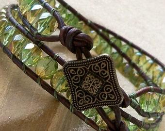 Women's Bracelet - Leather Wrap Bracelet - Czech Glass - Double Wrap - Green with Celsian Finish - Handmade Bracelet - Gift For Wife