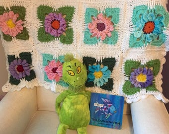 Floral Baby Blanket - Crocheted   ***Custom Made*****