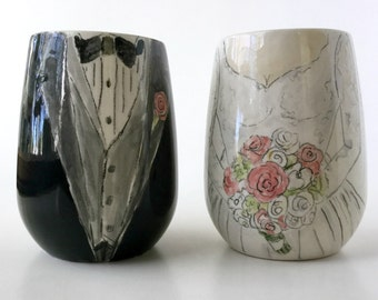 Personalized bride and groom unique wedding gift wine goblet unique engagement gift for couple ceramic wine glass set by Cathie Carlson