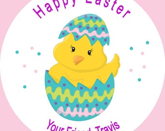 Personalized Easter Labels, Happy Easter Stickers, Set of 12 or 20