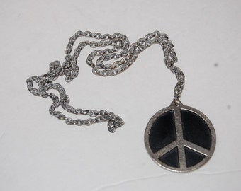 Vintage 60s Peace Symbol Necklace Original Hippie Necklace with Oriental Symbols