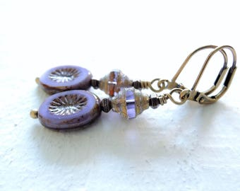 Lavender Mist Czech Glass Dangle Earrings Earthy Soft Color Artisan Glass Antiqued Brass Earrings Small Purple Earrings Gift for Her