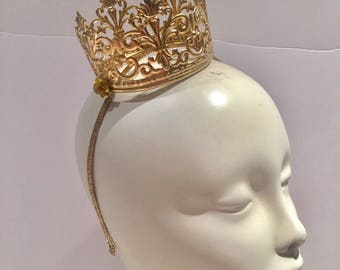 Gold crown- Queen Crown - Birthday Hat for the person who has it all! Birthday hat- Halloween Costume -Princess- Renaissance Fair- Sale
