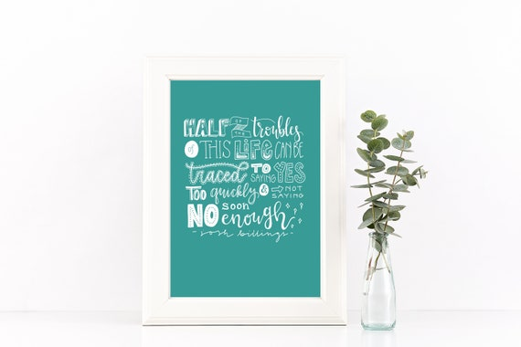 Inspirational Quote Print - Yes and No Print - Josh Billings Quote - Digital Print