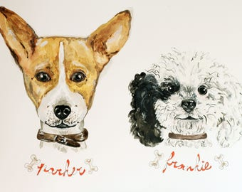 Custom Pet Portrait For Two Dogs - Watercolors Illustration
