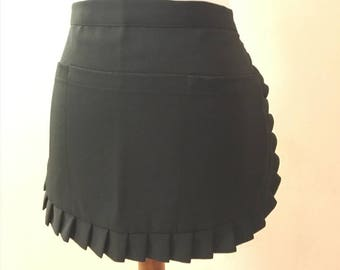 Woman's Waist Apron Black Cute & Made of Soft Easy Care Fabric - Hand Made in USA - Ready to Ship for Free
