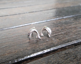 Awesome Handcraft Teen GirlsSterling Silver Rolling Dolphin Earrings,Fish Earring,Dolphin Earring,Fish Stud,Dolphin Stud,Personalized Gifts