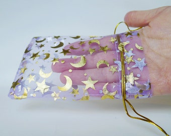 FIVE Purple Organza Bags, 5 Set Lavender Amethyst Lilac Violet Grape Gold Moon Stars Bags, Celestial Printed Pouch Lot, US Seller Gift Bags