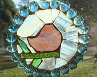 Bird on a Branch - Stained Glass Mosaic Suncatcher