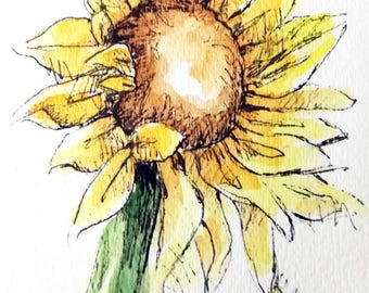 Sunflower Original Watercolor Art Painting Pen and Ink Watercolor Art