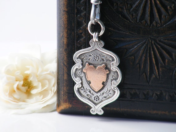 Antique Medal | Rose Gold Heart & Sterling Silver Medal | 1913 English Hallmarked Silver Fob Medallion - 34 Inch Long Chain with Fob Clip