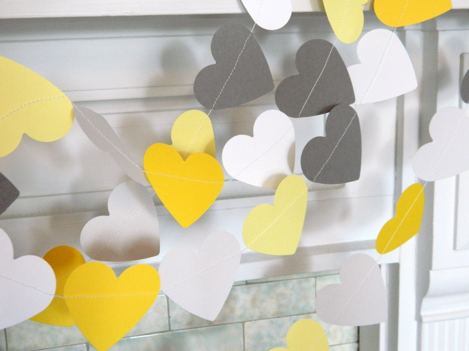 Yellow gray paper hearts gray and yellow wedding garland zoom junglespirit Image collections