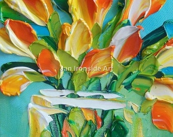 Original Oil Painting,  Wall Art , Gift for her , Oil Painting Yellow OrangeTulips