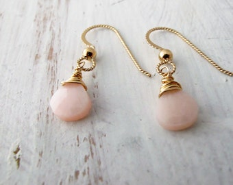 Blush Pink Earrings, Opal, Gold Filled Earwires, Wire Wrapped, Simple, Bridesmaid Jewelry, Birthday Gift for Her