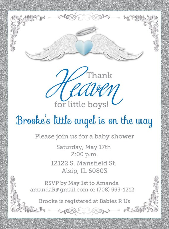 Thank Heaven For Little Boys Baby Shower Invitations   Unique Baby Shower  Invitation   Baptism Invites