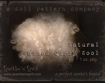Wool - 1 oz Natural Washed Curly Wool for Santa beards