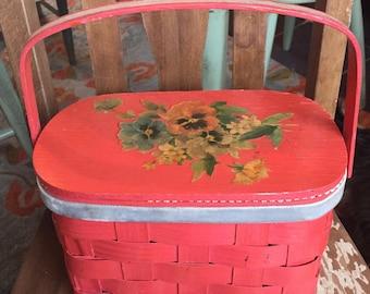 Vintage Coral Wood Basket Purse