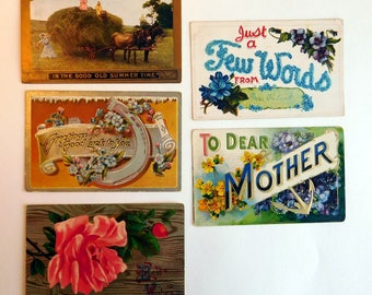 Lot of 5 Antique Vintage Greeting Postcards 1909-1911 Edwardian Victorian Style Color Litho Cards - Card-making Collage Supply - Ephemera