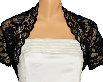 Ladies Black Lace Short Sleeve Bolero Shrug Jacket Sizes 4-26