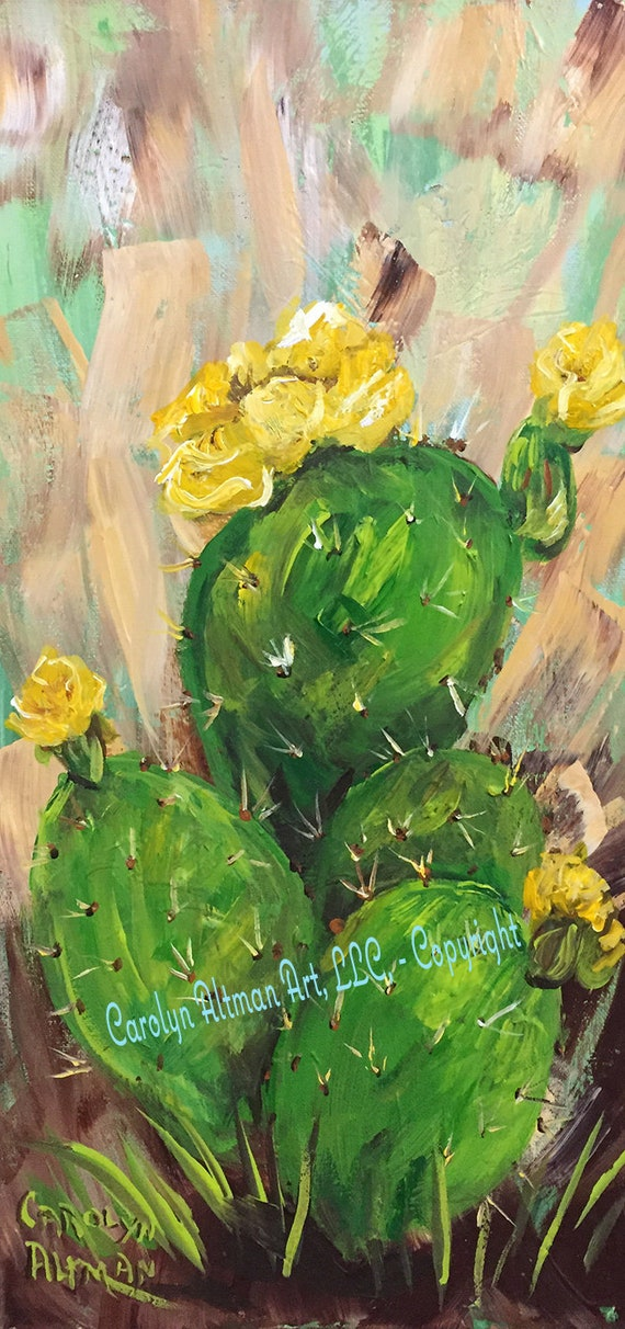 Prickly Pear in the Morning Original Painting |Prickly Pear Cactus Painting |Carolyn Altman Painting