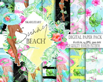 Summer Paper Pack Hibiscus  Girl Pink Orange Hibiscus Fashion Illustration Tropical Backgrounds Planner Stickers Supplies