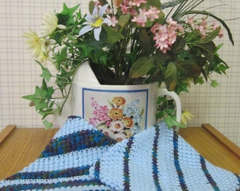 Crochet Potholder Ice Blue Green and Peacock - Set of 2 Potholders/Trivet