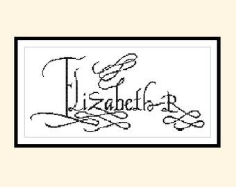 Cross Stitch Pattern Elizabeth R Signature Original Cross Stitch Pattern Instant Download