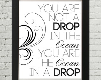 You Are Not A Drop In The Ocean, Motivational Words, Inspirational Words, Motivational Quotes, Inspirational Quotes, Typographic, Printable