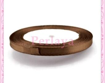 20 meters of 6mm caramel brown REF2747 satin ribbon