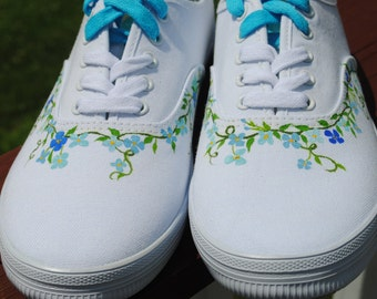 New Hand Painted Design With KEDS Shoes and Small Shades of Blue flowers and Vines size 10W  -  SOLD