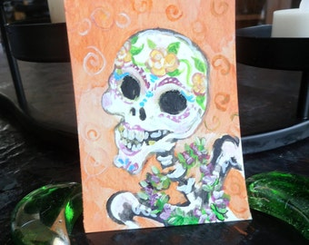Sugar Skull with LeI.  Original Painting  ACEO Art card